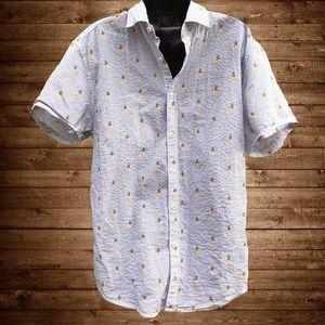 🍍Denim & Flower | Slim Fit Pineapple Button Shirt